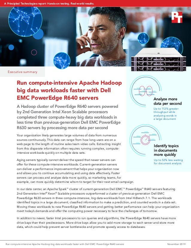 Executive summary Run compute-intensive Apache Hadoop big data workloads faster with Dell EMC PowerEdge R640 servers A Had...