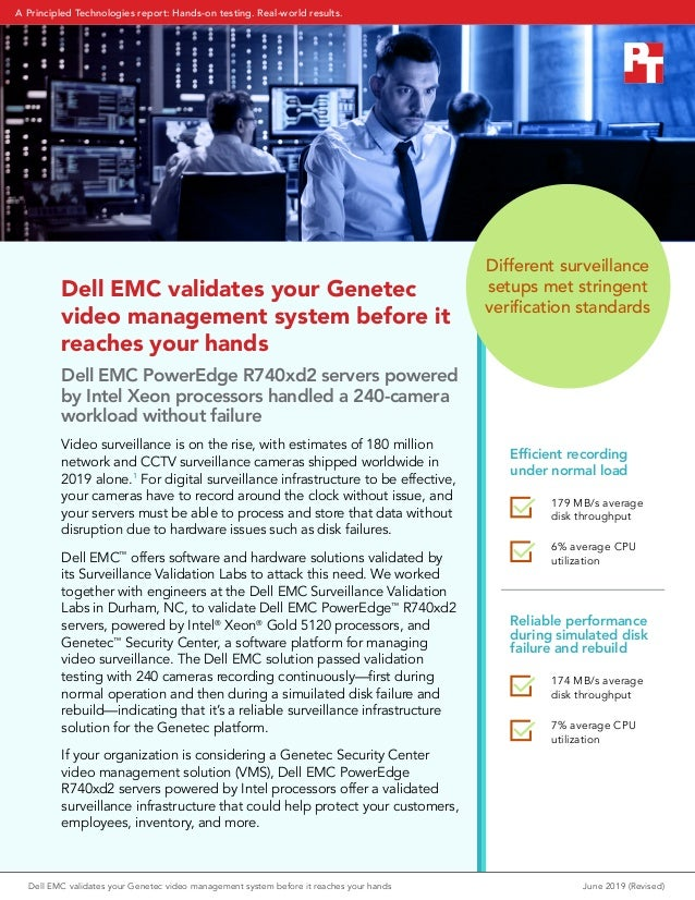 Dell EMC validates your Genetec video management system before it reaches your hands Dell EMC PowerEdge R740xd2 servers po...