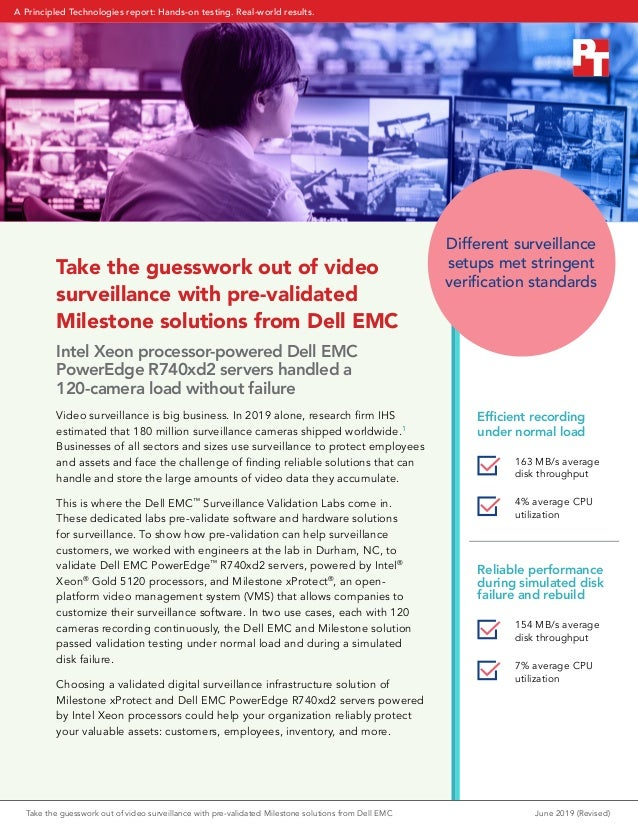 Take the guesswork out of video surveillance with pre-validated Milestone solutions from Dell EMC Intel Xeon processor-pow...