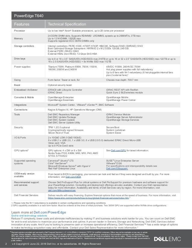 Server Dell Poweredge T640 spec sheet I Nhat Thien Minh
