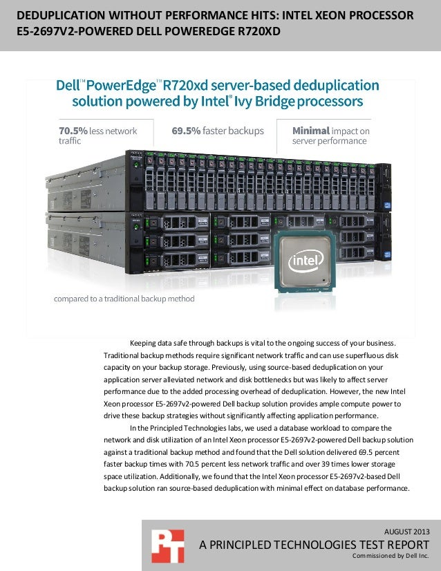 AUGUST 2013 A PRINCIPLED TECHNOLOGIES TEST REPORT Commissioned by Dell Inc. DEDUPLICATION WITHOUT PERFORMANCE HITS: INTEL ...