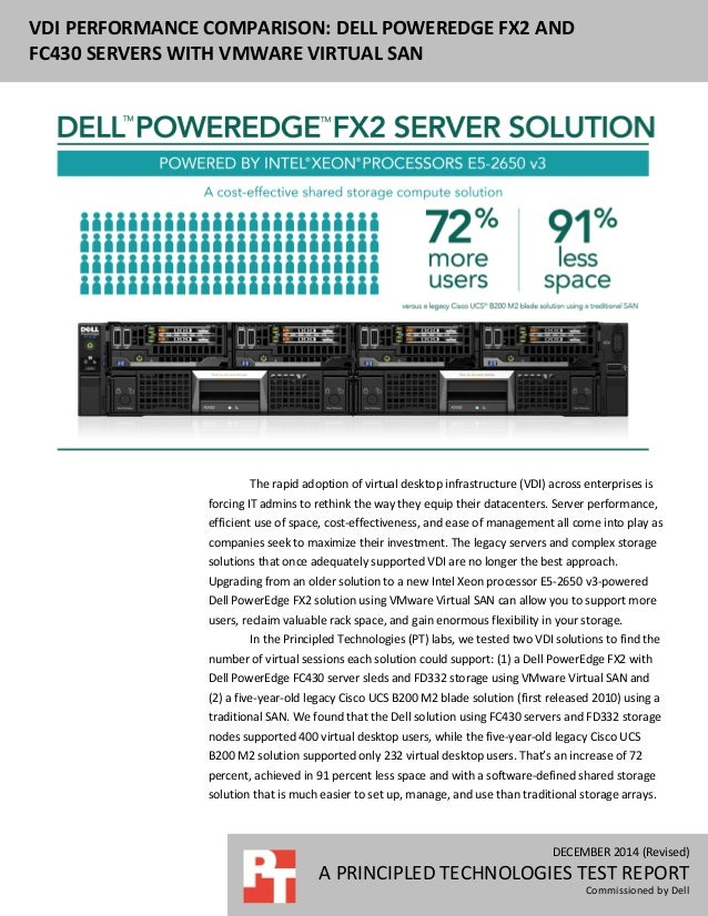 DECEMBER 2014 (Revised) A PRINCIPLED TECHNOLOGIES TEST REPORT Commissioned by Dell VDI PERFORMANCE COMPARISON: DELL POWERE...
