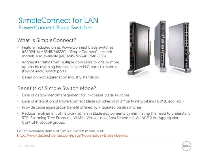 SimpleConnect for LANPowerConnect Blade SwitchesWhat is SimpleConnect?• Feature included on all PowerConnect blade switche...