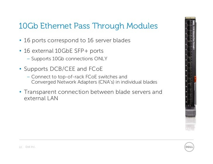10Gb Ethernet Pass Through Modules• 16 ports correspond to 16 server blades• 16 external 10GbE SFP+ ports      – Supports ...