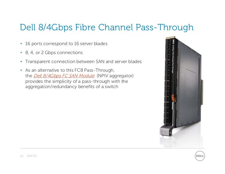 Dell 8/4Gbps Fibre Channel Pass-Through• 16 ports correspond to 16 server blades• 8, 4, or 2 Gbps connections• Transparent...