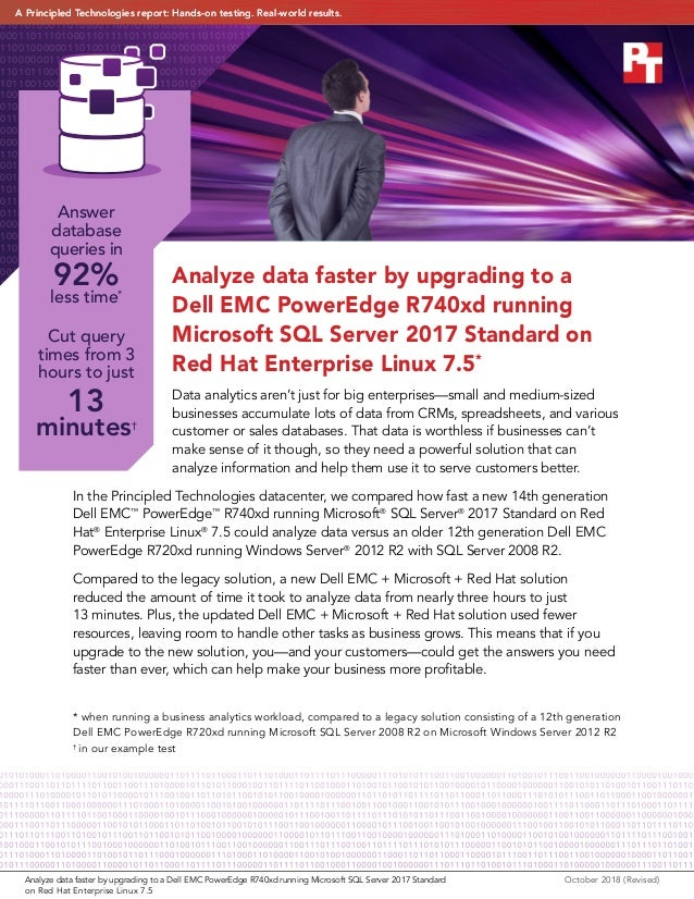 Analyze data faster by upgrading to a Dell EMC PowerEdge R740xd running Microsoft SQL Server 2017 Standard on Red Hat Ente...