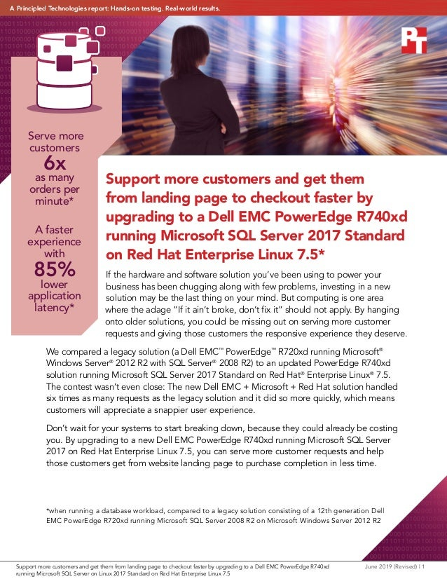 Support more customers and get them from landing page to checkout faster by upgrading to a Dell EMC PowerEdge R740xd runni...