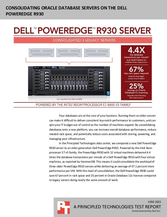 Consolidating Oracle database servers on the Dell