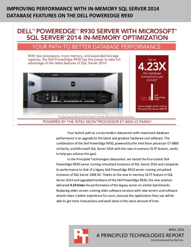 Improving performance with in-memory SQL Server 2014