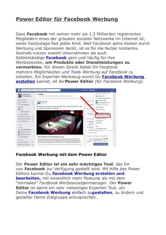 Power Editor für Facebook Werbung Dass Facebook mit seinen mehr als 1,3 Milliarden registrierten Mitgliedern eines der grö...