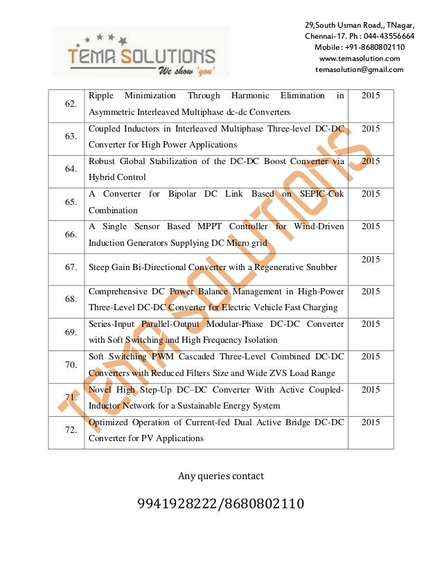 Final year Power electronics Project Titles