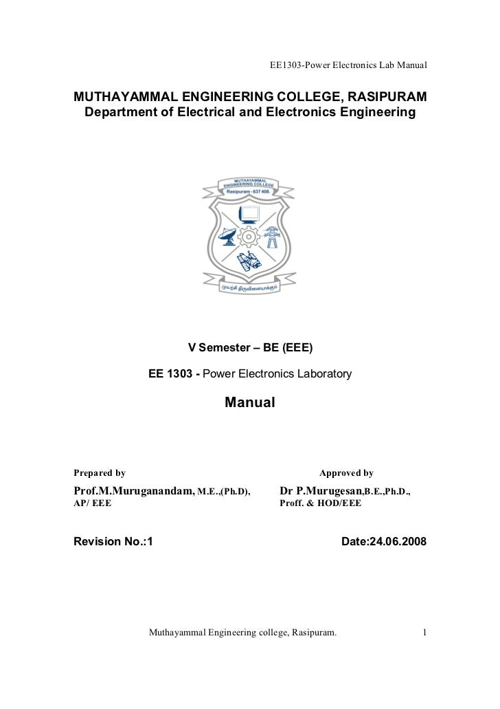 Power Electronics Lab Manual Be Eee