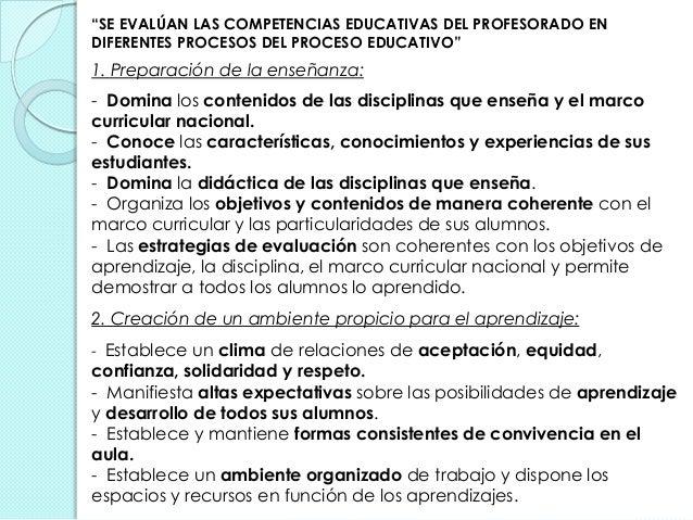 """""""SE EVALÚAN LAS COMPETENCIAS EDUCATIVAS DEL PROFESORADO EN DIFERENTES PROCESOS DEL PROCESO EDUCATIVO"""" 1. Preparación de la..."""