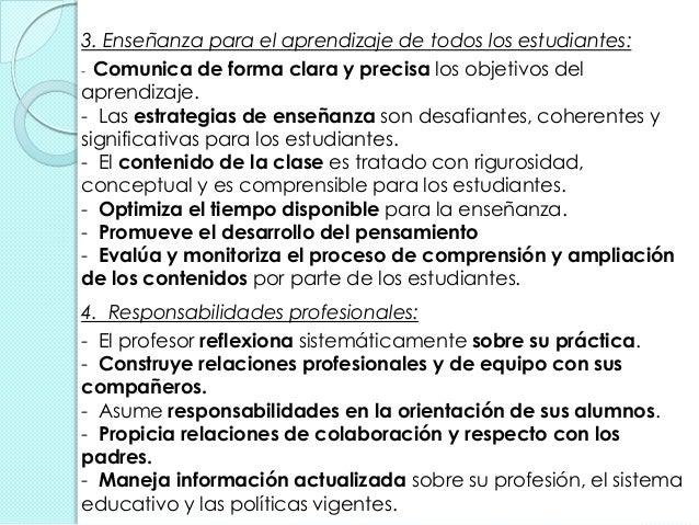 3. Enseñanza para el aprendizaje de todos los estudiantes: - Comunica de forma clara y precisa los objetivos del aprendiza...