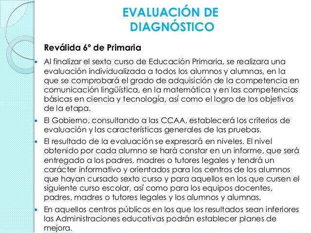 EVALUACIÓN DE DIAGNÓSTICO Reválida 6º de Primaria  Al finalizar el sexto curso de Educación Primaria, se realizara una ev...