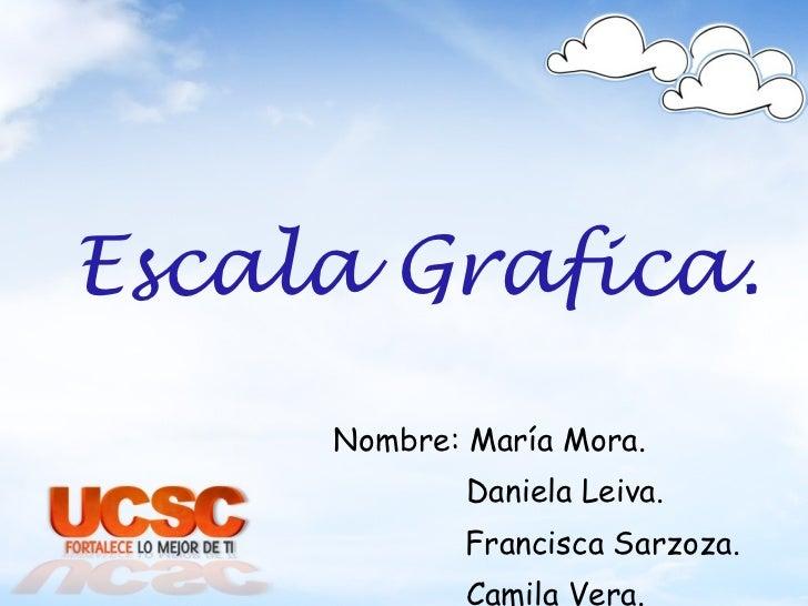 Escala Grafica. Nombre: María Mora. Daniela Leiva. Francisca Sarzoza. Camila Vera.
