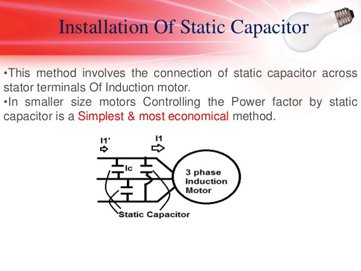 Power factor correction of 3 phase induction motor for Power factor correction capacitors for motors