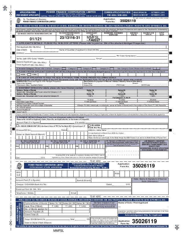 Power Finance Corporation Tax Free Bonds 2015 Application Form Call A…