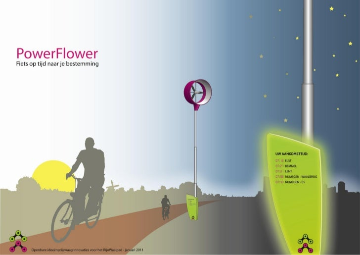 PowerFlowerFiets op tijd naar je bestemmingDe PowerFlower is een informatiezuil met        Het geheel wordt volledig van e...