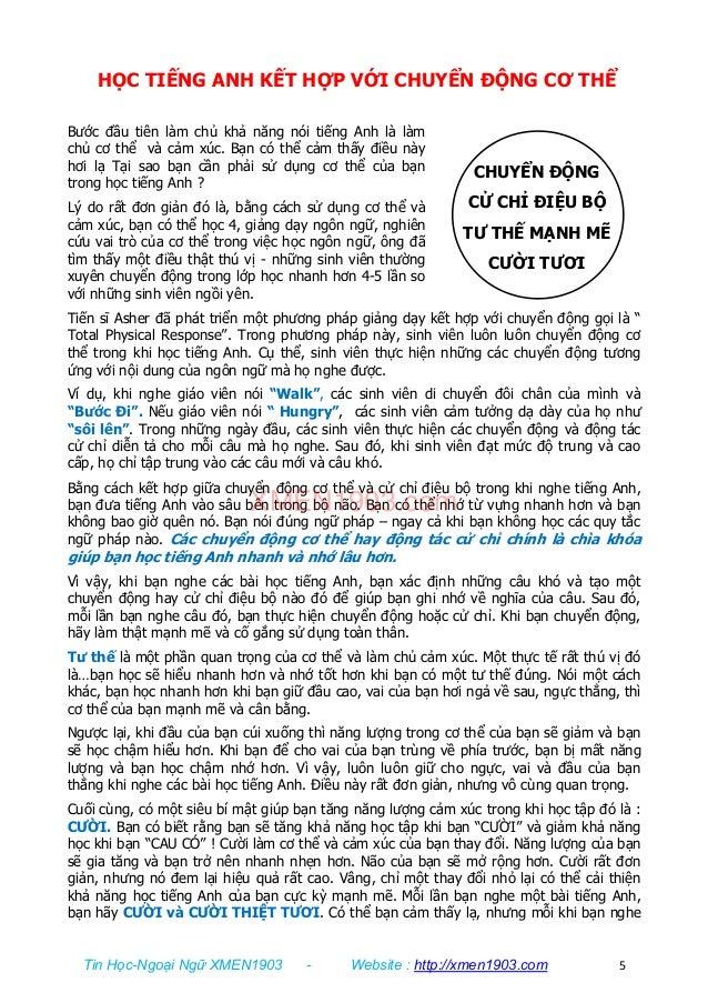 Tin Học-Ngoại Ngữ XMEN1903 - Website : http://xmen1903.com 5 CHUYỂN ĐỘNG CỬ CHỈ ĐIỆU BỘ TƯ THẾ MẠNH MẼ CƯỜI TƯƠI HỌC TIẾNG...