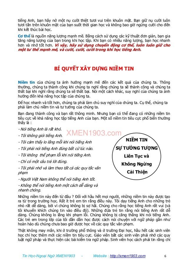 Tin Học-Ngoại Ngữ XMEN1903 - Website : http://xmen1903.com 6 NIỀM TIN SỰ TƯỞNG TƯỢNG Liên Tục và Không Ngừng Cải Thiện tiế...