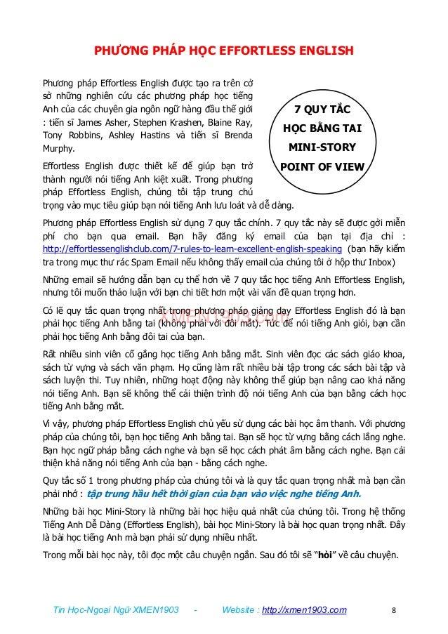 Tin Học-Ngoại Ngữ XMEN1903 - Website : http://xmen1903.com 8 7 QUY TẮC HỌC BẰNG TAI MINI-STORY POINT OF VIEW PHƯƠNG PHÁP H...