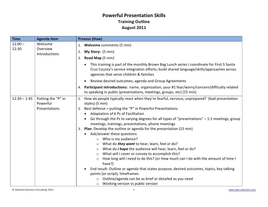 powerful presentation skills training outline example