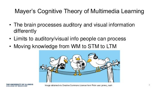 Mayer's Cognitive Theory of Multimedia Learning • The brain processes auditory and visual information differently • Limits...