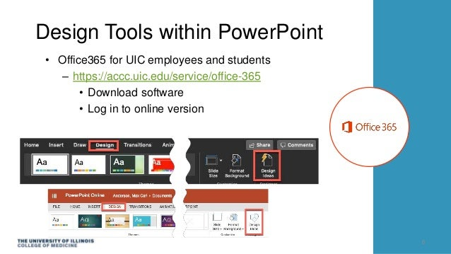 Design Tools within PowerPoint • Office365 for UIC employees and students – https://accc.uic.edu/service/office-365 • Down...