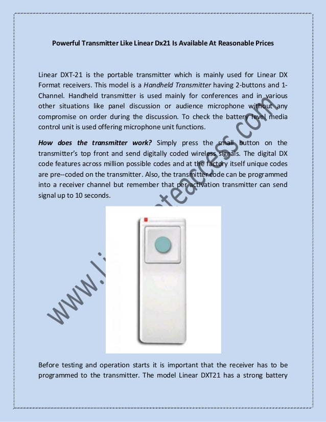 Powerful Transmitter Like Linear Dx21 Is Available At Reasonable Prices Linear DXT-21 is the portable transmitter which is...