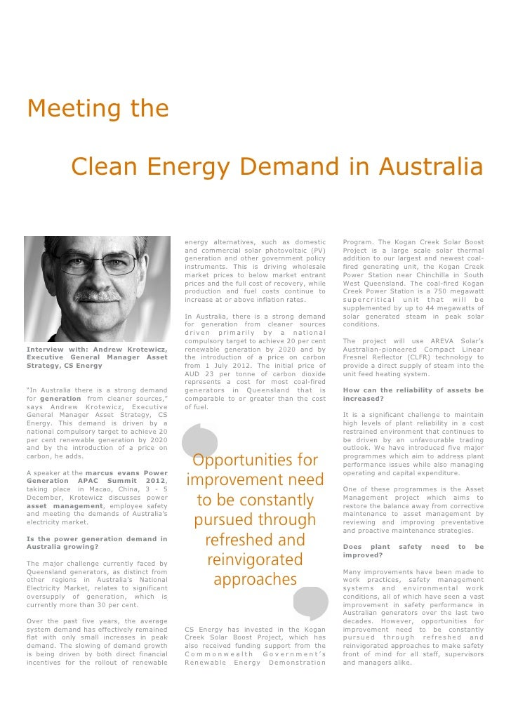 Meeting the             Clean Energy Demand in Australia                                             energy alternatives, ...