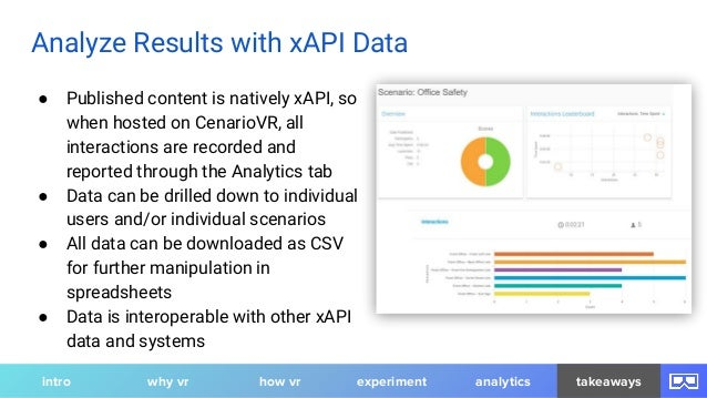 ● Published content is natively xAPI, so when hosted on CenarioVR, all interactions are recorded and reported through the ...