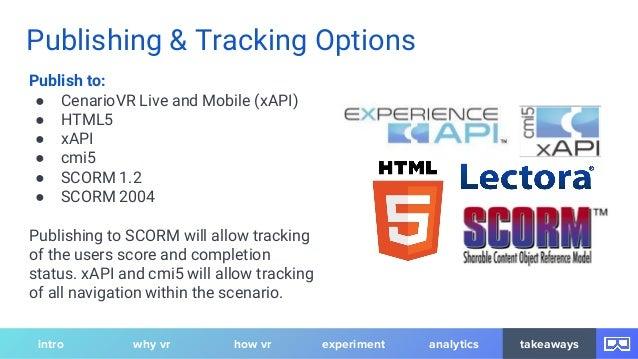 Publishing & Tracking Options Publish to: ● CenarioVR Live and Mobile (xAPI) ● HTML5 ● xAPI ● cmi5 ● SCORM 1.2 ● SCORM 200...