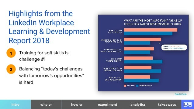 Highlights from the LinkedIn Workplace Learning & Development Report 2018 Training for soft skills is challenge #1 1 Balan...