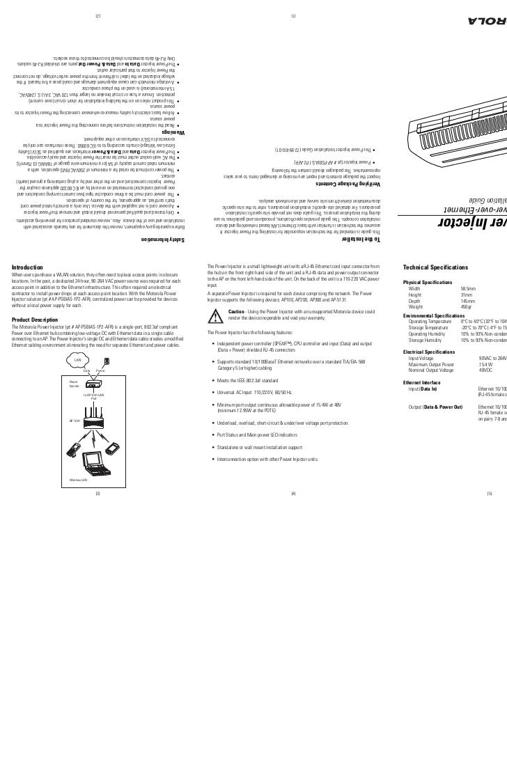 Power Injector 1 Port Over Ethernet Installation Guide Wiring Instructions 2