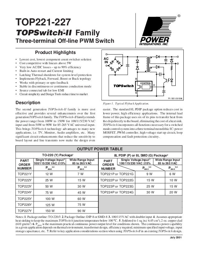 ® TOP221-227 TOPSwitch-II Family Three-terminal Off-line PWM Switch Figure 1. Typical Flyback Application. easier. The sta...