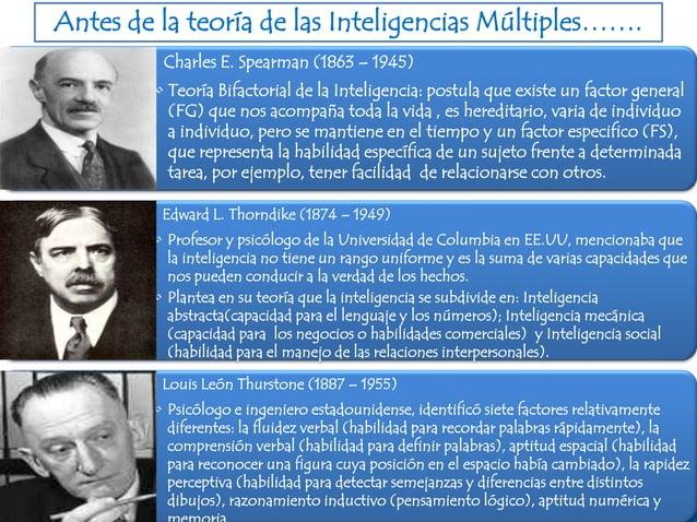 Antes de la teoría de las Inteligencias Múltiples…….Charles E. Spearman (1863 – 1945)• Teoría Bifactorial de la Inteligenc...