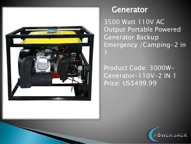 Generator 3500 Watt 110V AC Output Portable Powered Generator Backup Emergency /Camping-2 in 1 Product Code: 3000W- Genera...