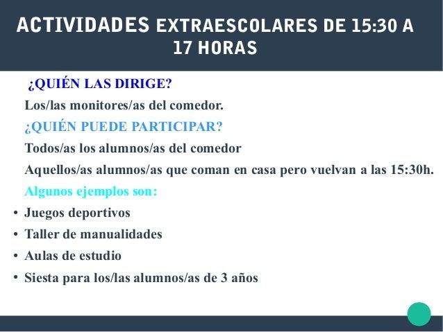 ACTIVIDADES EXTRAESCOLARES DE 15:30 A 17 HORAS ¿QUIÉN LAS DIRIGE? Los/las monitores/as del comedor. ¿QUIÉN PUEDE PARTICIPA...