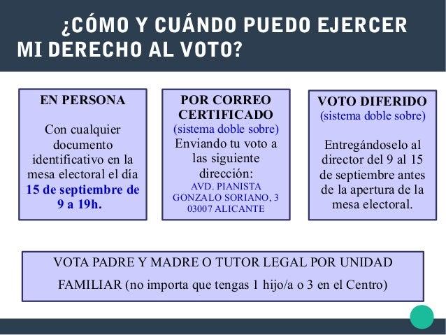 ¿CÓMO Y CUÁNDO PUEDO EJERCER MI DERECHO AL VOTO? EN PERSONA Con cualquier documento identificativo en la mesa electoral el...