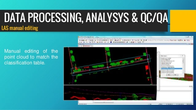LAS manual editing Manual editing of the point cloud to match the classification table. DATA PROCESSING, ANALYSYS & QC/QA