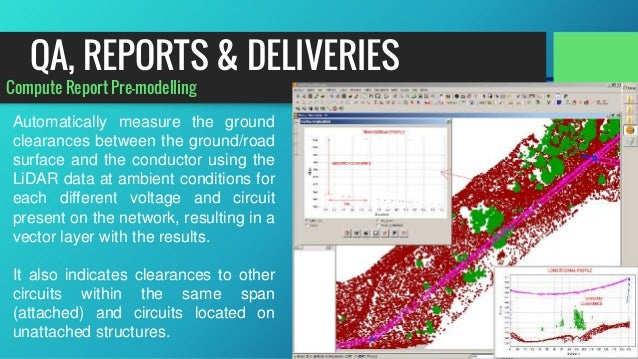 Compute Report Pre-modelling Automatically measure the ground clearances between the ground/road surface and the conductor...