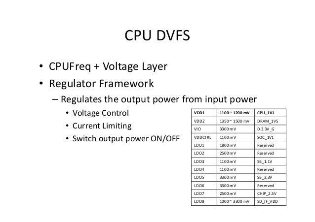 CPU DVFS • CPUFreq + Voltage Layer • Regulator Framework – Regulates the output power from input power • Voltage Control •...