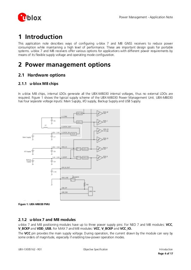 Power management considerations for u blox 7 - m8 gnss receivers