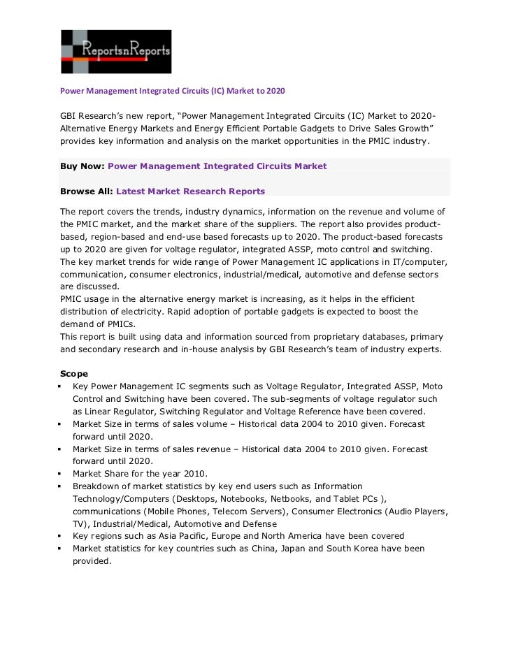 """Power Management Integrated Circuits (IC) Market to 2020GBI Research's new report, """"Power Management Integrated Circuits (..."""