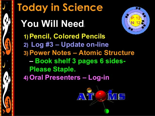 You Will Need: 1) Pencil, Colored Pencils 2) Log #3 – Update on-line 3) Power Notes – Atomic Structure  – Book shelf 3 pag...