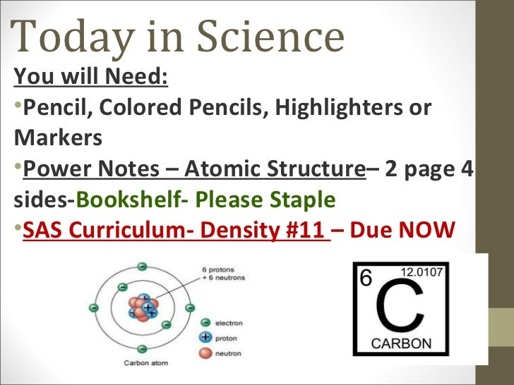 Today in ScienceYou will Need:•Pencil, Colored Pencils, Highlighters orMarkers•Power Notes – Atomic Structure– 2 page 4sid...