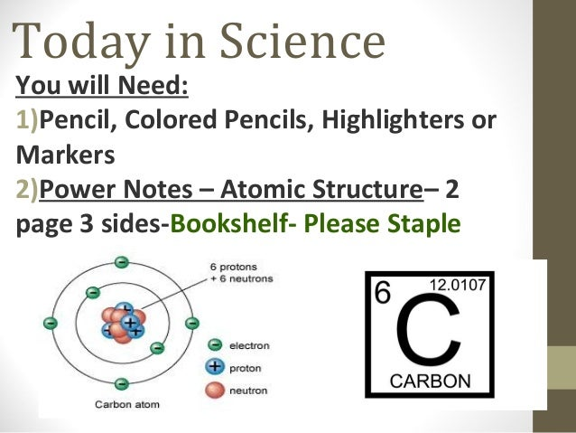Today in ScienceYou will Need:1)Pencil, Colored Pencils, Highlighters orMarkers2)Power Notes – Atomic Structure– 2page 3 s...