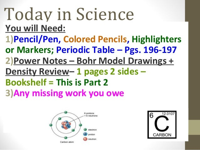 Today in Science You will Need: 1)Pencil/Pen, Colored Pencils, Highlighters or Markers; Periodic Table – Pgs. 196-197 2)Po...