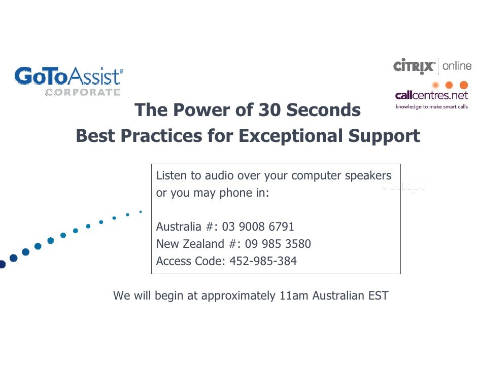 The Power of 30 Seconds Best Practices for Exceptional Support             Listen to audio over your computer speakers    ...